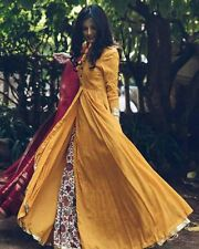 Indian Stylish Designer Bollywood Party Yellow Gown Anarkali Salwar Suit Kamee