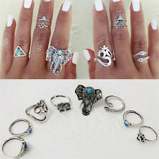 Set of 8 Boho Elephant Rings Vintage Fashion Lover Turquoise Silver Knuckle Ring