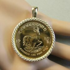 18ct gold New pendant that will fit a one Oz fine gold krugerrand bullion coin