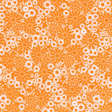 """Fabri-Quilt Baby Talk Orange Daisys 100% cotton 43"""" Fabric by the yard"""