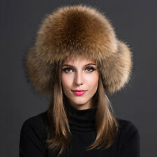 Chic Plush Genuine farm raccoon fur hat Leather Bomber cap Women Winter Ear Warm