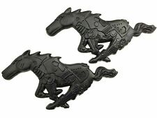 x2 Black Ford Mustang Mechanical Running Horse - Pony - Stallion Emblem / Badge