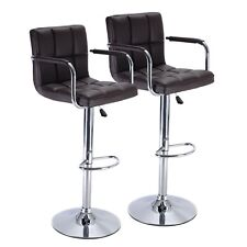2 Set Bar Stool PU Leather Barstools Chair Adjustable Counter Swivel with Arm