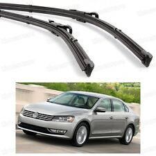 2Pcs Car Front Windshield Wiper Blade Bracketless for VW Passat 2012-2015 13 14