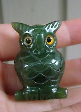 "1.6"" Canadian Top Grade Jade Carved Owl Figurine Display, Worry Stone"