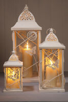 BUTTERFLY CREAM PILLAR CANDLE LANTERNS WEDDING HOME EVENTS