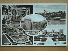 OLD MULTI -VIEW BLACK& WHITE / SEPIA TONE POSTCARD OF WINDSOR