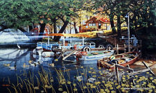 Ken Zylla Willow Bay Fishing Camping Cabin S/N Print 30 x 18