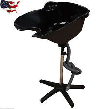 US Portable Height Adjustable Shampoo Basin Hair Bowl Salon Treatment Tool Black