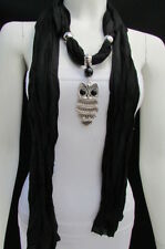 New Women Fashion Necklace Soft Fabric Scarf Owl Pendant Black Gray Dark Blue