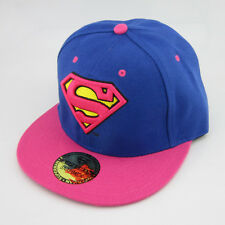 Dc Comics New Superman Snapback Adjustable Pink Blue baseball cap hat flat Gift