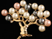 PEARL BLOWING BUDDING EASTER CHERRY BLOSSOM WILLOW TREE PIN BROOCH JEWELRY 3.25""