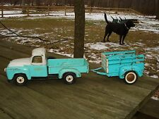 Vintage Tru Scale Step Side Pickup Truck & Tonka Trailer Collectable rare find