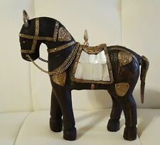 Vintage Hand Carved Wooden Horse Figurine with Brass and Mother of Pearl
