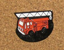 "A67 VINTAGE PIN FIREFIGHTER FIRE MAN SAPEUR POMPIER TRUCK 1"" LONG"