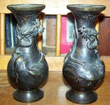 Antique Japanese Bronze Dragon Vase Pair
