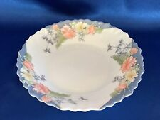 "ARCOPAL FLORINE FLORAL FRANCE SCALLOPED RIM LUNCHEON PLATE 9"" 7/8 LOT OF 8"
