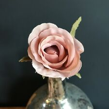Dusky Pink Faux Silk Rose Bud. Realistic Artificial Light Dusty Pink Flower