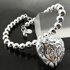 697 GENUINE REAL 925 STERLING SILVER SF ANTIQUE HEART BEAD STYLE BRACELET BANGLE