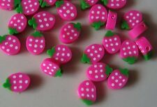 25 FIMO BEADS .PIECES OF FRUIT 10mm PINK STRAWBERRIES