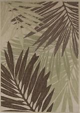 """Beige Tropical Palm Outdoor Carpet 8x11 Leaves Area Rug : Approx 7' 10"""" x 11' 2"""""""