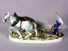 """Gräfenthal Porzellanfigur """"Bauer mit Pferden beim Pflügen"""" 37,5 x 14 cm  4T1816"""