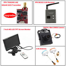 "5.8G TS5828S FPV AV Transmitter+RC832 Receiver+7"" HD LCD+Mini Camera+Antenna Kit"