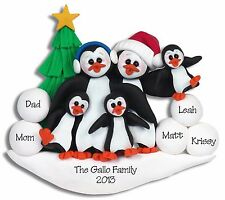 PENGUIN FAMILY 5 Handmade Personalized Ornament POLYMER CLAY by Deb & Co.