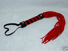 Synthetic Red Short Suede Flogger Whip Lash Crop Prop Submissive Dominatrix