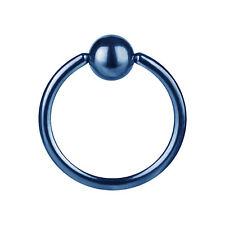piercing anneaux bleu 1.2x10x4 acier 316 L  pour Arcade nez téton oreille