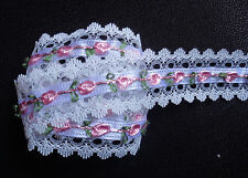 1 1/2 inch wide Lace Ribbon white/pink 1 yard and 15 inch cut