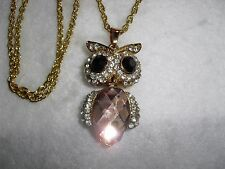 """Articulated Rhinestone Owl Pendant Necklace, Large Faceted 1"""" Long Body!"""