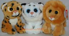 """Ty Beanie Babies Set of 3 Big Cats TUNDRA -LOUIE - FRECKLES  6"""" size"""