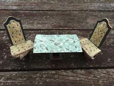 Antique Folk Art Wooden Dollhouse Miniature 3 Legged Chairs & Dining Table Set