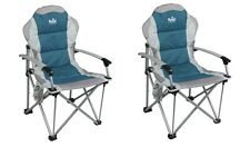 X2 (PAIR) Royal Commander Folding Camping Chair With Carry Bag & Solid Arms Blue