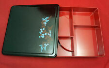 Bento meal Blue flower elegant Japanese lunch box high quality plastic cover