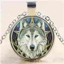 Wicca Wolf Head Cabochon Glass Tibet Silver Chain Pendant  Necklace#3059