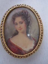 VTG SIGNED FLORENZA VICTORIAN CAMEO PORTRAIT PIN BROOCH w LOVELY LADY
