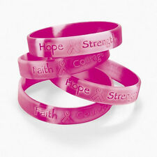 Pink Ribbon Camouflage Breast Cancer AWARENESS Bracelets - 12 pack Hope Faith