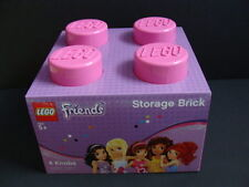 NEW LEGO Friends Pink Storage Brick Tub Project Case 4 Knobs Stud Organizer NIB