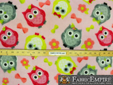 "Fleece Printed Fabric JOLLY OWLS PINK / 58"" Wide / Sold by the yard S-644"