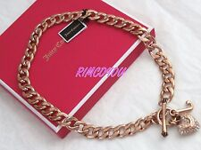 NEW  JUICY COUTURE  PAVE PUFFED HEART  ROSE GOLD STARTER NECKLACE  RETIRED