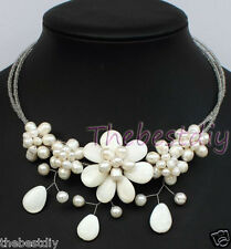 handmade Natural  Pearl shell  flower necklace Statement Necklace wedding
