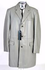 Gianni Versace Versus Leather 3/4 Length Jacket EU54 XL Light Grey RRP £845 Coat