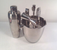Crate & Barrel-Stainless Steel 7 PC. Bartender set-Tools w/ Shaker & Ice Bucket