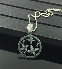 Butterfly Womens Men's Silver 316L Stainless Steel Titanium Pendant Necklace C3