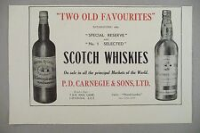 P.D. Carnegie Scotch Whisky PRINT AD - 1928 ~~ Special Reserve & No. 1 Selected