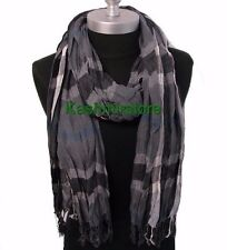 NEW women men long warm soft CRINKLE plaid/check scarf wrap shawl Dark Gray#K103