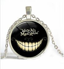 Vintage Halloween party  Cabochon Tibetan silver Glass Chain Pendant Necklace
