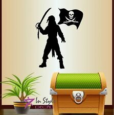 Vinyl Decal Pirate Corsair Pirates Flag Kids Boys Room Wall Decor Sticker 552